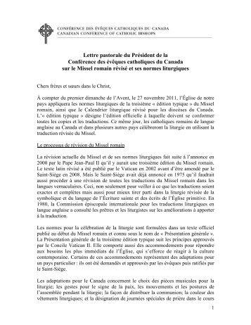 Lettre pastorale du Président de la Conférence des évêques ...