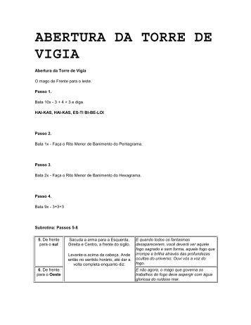 ABERTURA DA TORRE DE VIGIA - Apostilas