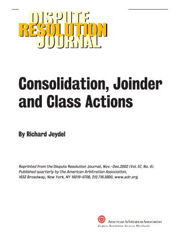 Consolidation, Joinder and Class Actions - American Arbitration ...