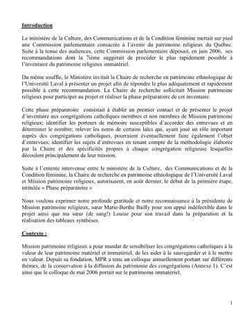 Rapport final projet pilote inventaire patrimoine immatériel - Mission ...