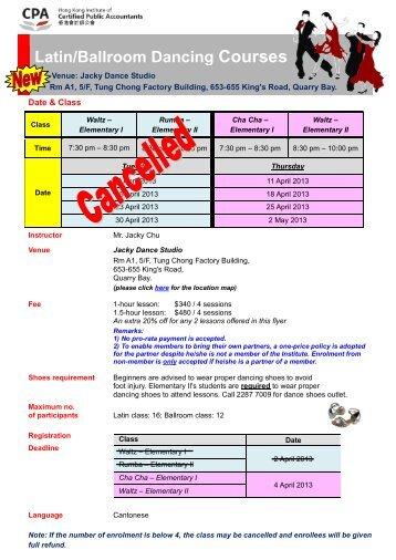Latin/Ballroom Dancing Courses - Hong Kong Institute of Certified ...