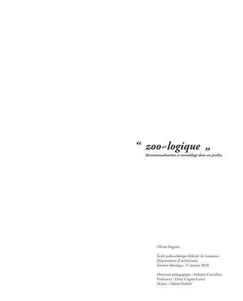 """"""" zoo~logique """" - EPFL"""