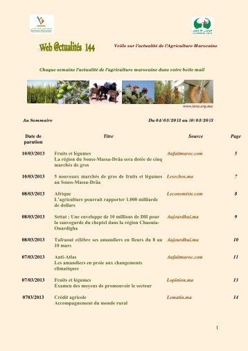 1 Date de parution Titre Source Page 10/03/2013 Fruits et légumes ...