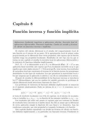 8. Función inversa y función implícita