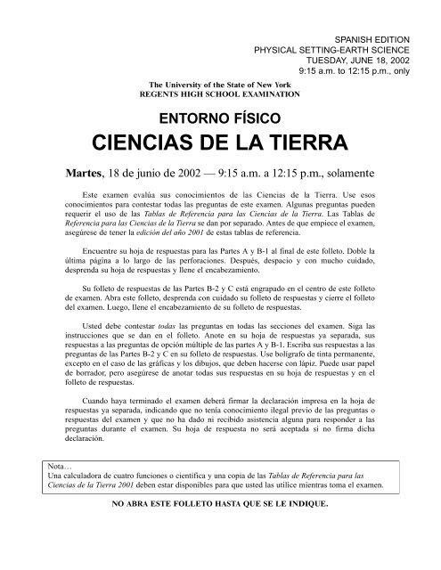 Earth Science Spanish