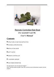 Remote Controlled Bait Boat User's Manual Contents