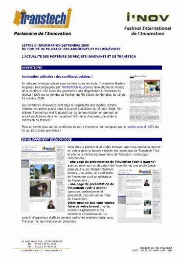 Lettre d'information Transtech Aquitaine : septembre 2008
