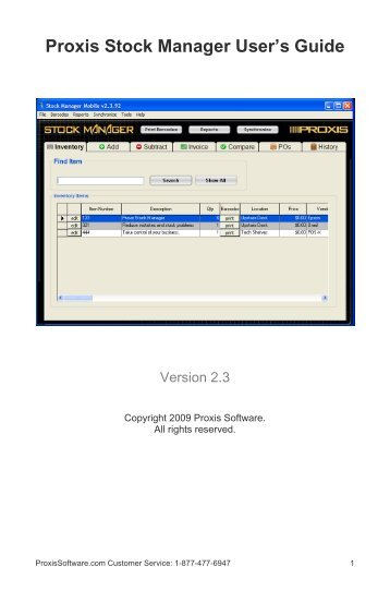 Proxis Stock Manager User's Guide - Proxis Software