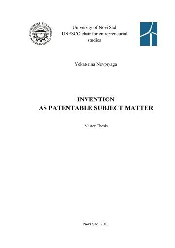 Invention As A Patentable Subject Matter
