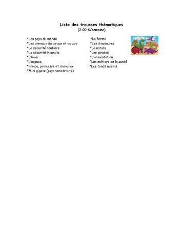 Liste des trousses thématiques