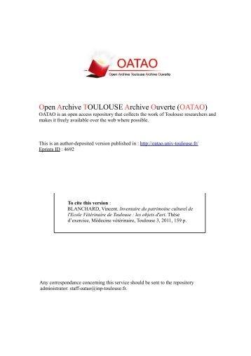 Inventaire du patrimoine culturel de l'Ecole Nationale ... - OATAO