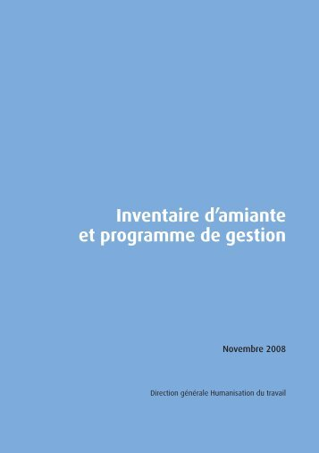 Inventaire d'amiante et programme de gestion(1) - Service public ...
