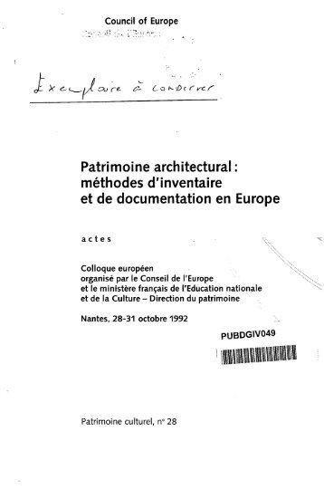 Patrimoine architectural : méthodes d'inventaire ... - Council of Europe