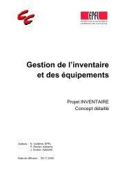 Gestion de l'inventaire et des équipements.pdf - sesame | epfl