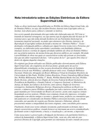 Nota introdutória sobre as Edições Eletrônicas da Editora ... - Apostilas