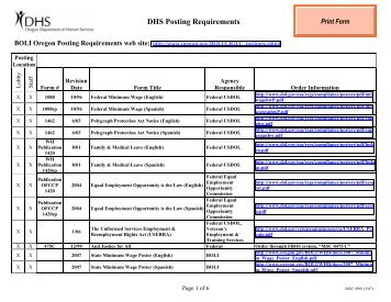 DHS Posting Requirements - Oregon DHS Applications home