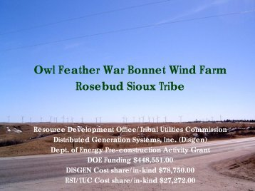 Rosebud Sioux Tribe - Owl Feather War Bonnet Wind Farm - EERE