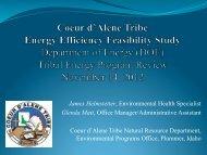 Coeur d'Alene Tribe Energy Efficiency Feasibility Study - EERE