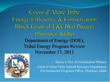 Coeur d'Alene Tribe Energy Efficiency and Conservation ... - EERE