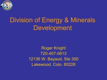 Division of Energy & Minerals Development Geothermal ... - EERE