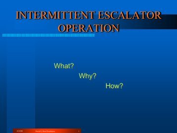 INTERMITTENT ESCALATOR OPERATION - APTAStandards.com