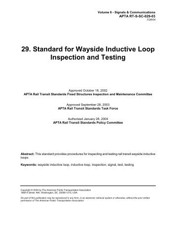 Standard for Wayside Inductive Loop Inspection and Testing