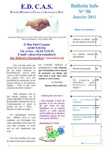 Bulletin Info N° 50 Janvier 2011 - Association EDCAS