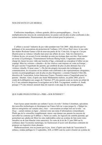 NOS ENFANTS ET LES MEDIAS - Maison Saint Dominique SAVIO