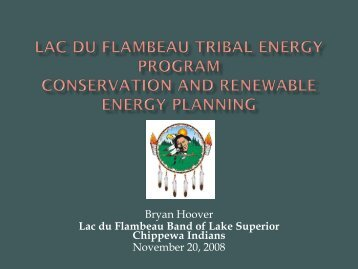 Lac du Flambeau Band of Lake Superior Chippewa Indians ... - EERE