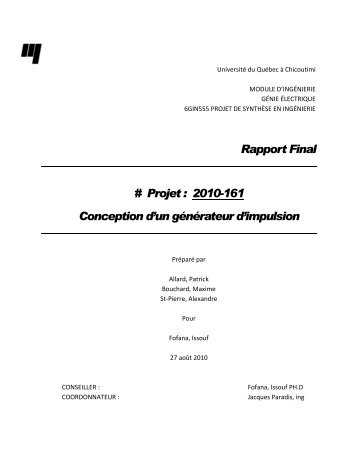 Rapport Final # Projet : 2010-161 Conception d'un ... - UQAC