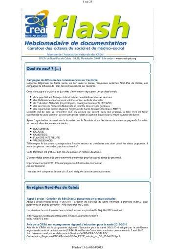 1 sur 23 Flash n°15 du 01/05/2013 - Creai Nord - Pas de Calais