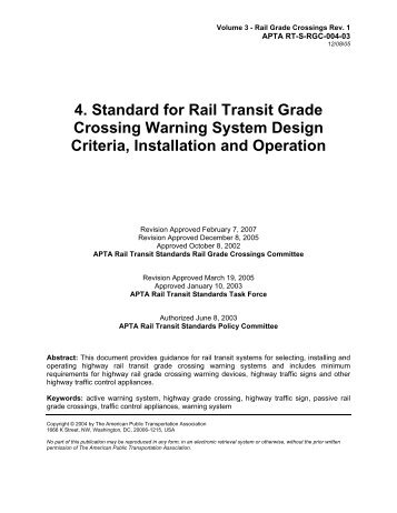 Standard for Rail Transit Grade Crossing Warning Systems for Rail ...