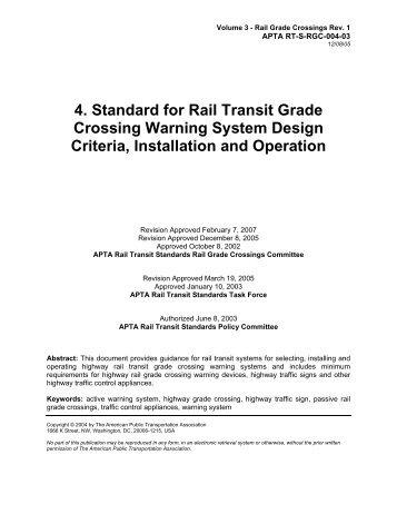Standard for Rail Transit Grade Crossing Warning Systems for Rail ...