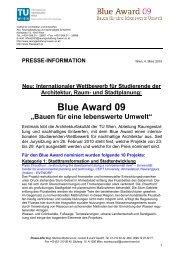 Blue Award 09 - Fakultät für Architektur und Raumplanung