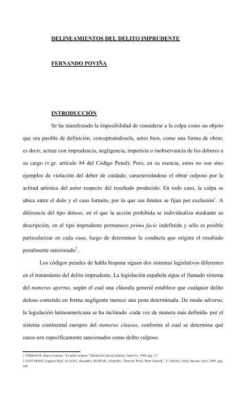 DELINEAMIENTOS DEL DELITO IMPRUDENTE ... - Laborem Iuris