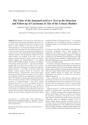 The Value of the ImmunoCyt/uCyt+ Test in - Anticancer Research