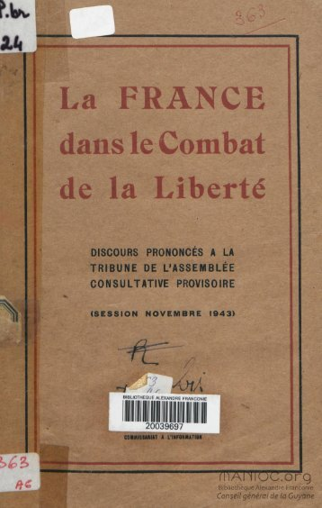 La France dans le combat de la liberté : discours prononcé ... - Manioc