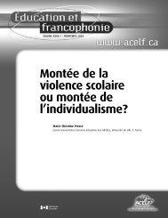 Montée de la violence scolaire ou montée de l'individualisme? - acelf