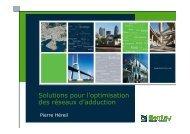 Solutions pour l'optimisation des réseaux d'adduction