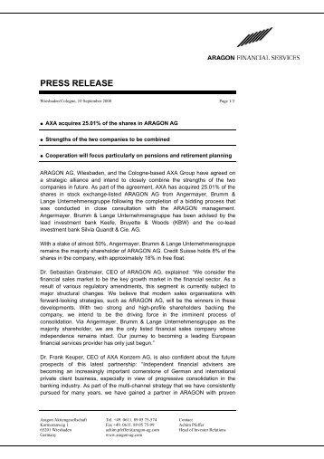 PRESS RELEASE - Aragon AG