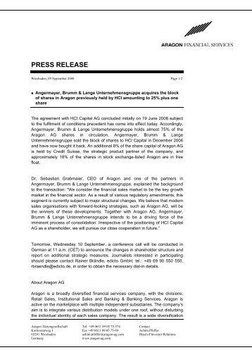 PRESS RELEASE - Aragon