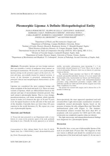 Pleomorphic Lipoma - Anticancer Research