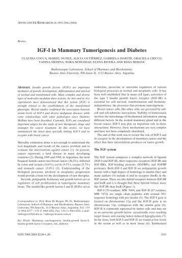 IGF-I in Mammary Tumorigenesis and Diabetes - Anticancer Research