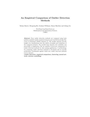 An Empirical Comparison of Outlier Detection Methods