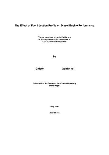 The Effect of Fuel Injection Profile on Diesel Engine Performance by ...