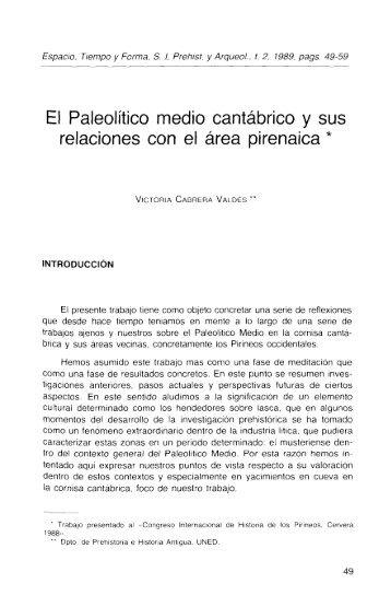 El Paleolítico medio cantábrico y sus relaciones ... - e-Spacio - UNED