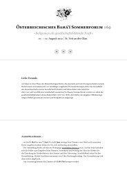 Österreichisches Bahá'í Sommerforum 169 »Religionen als - Tiscover