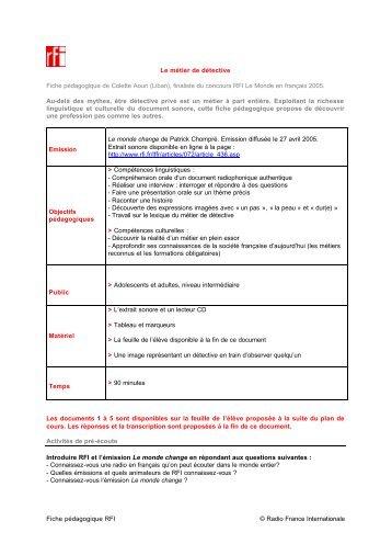 Télécharger la fiche pédagogique - RFI