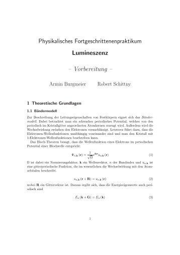 Physikalisches Fortgeschrittenenpraktikum Lumineszenz ...