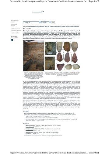 Page 1 of 2 De nouvelles datations repoussent l'âge de l'apparition ...